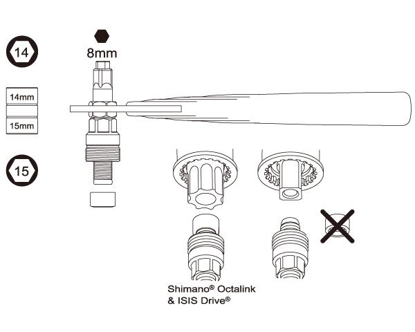 Cranktrekker met handvat 8mm inbus + 14/15mm
