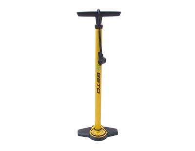 Hogedrukpomp met meter staal met duokop - geel