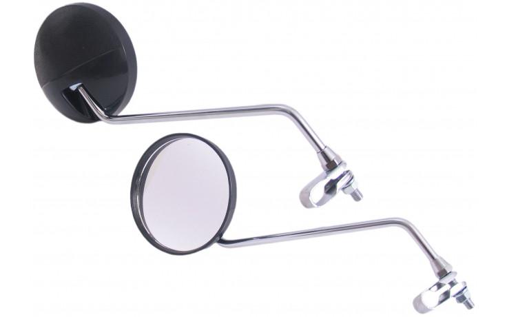 Spiegelset met klem M8 helder rond zwart/ chroom